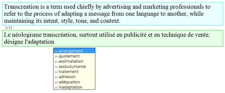 Wordfast Classic synonym push feature screenshot