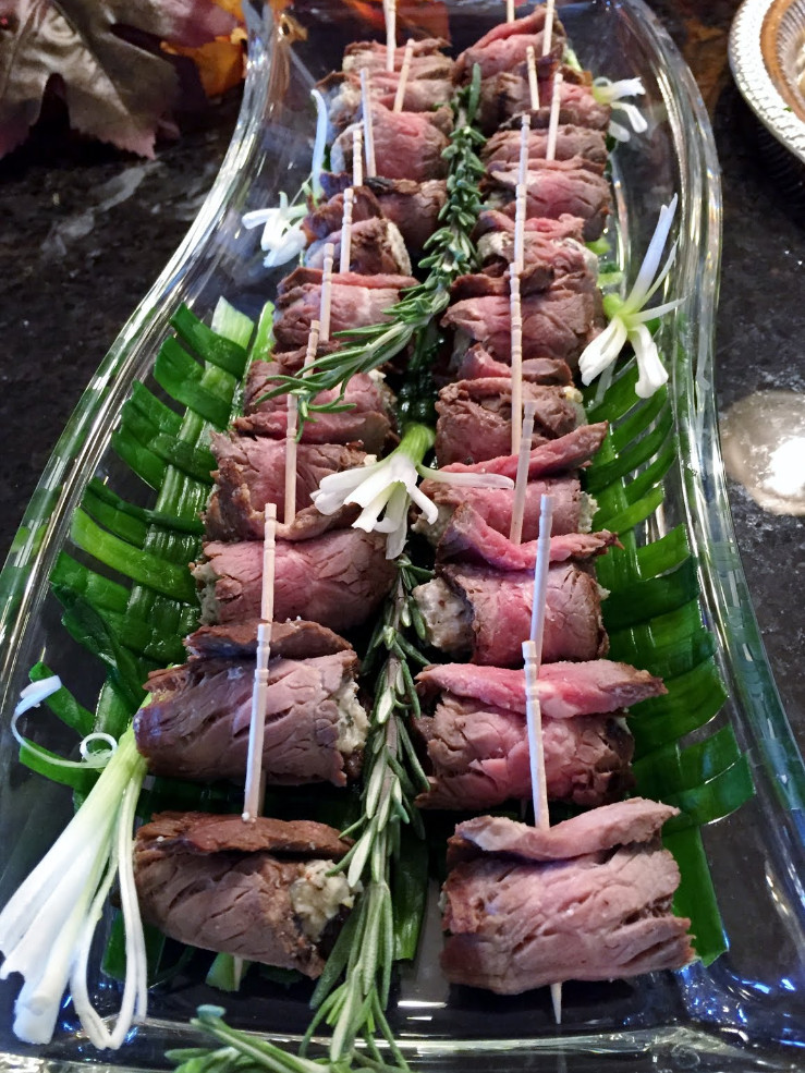 Flank Steak Rolls with Gorgonzola Walnut Spread
