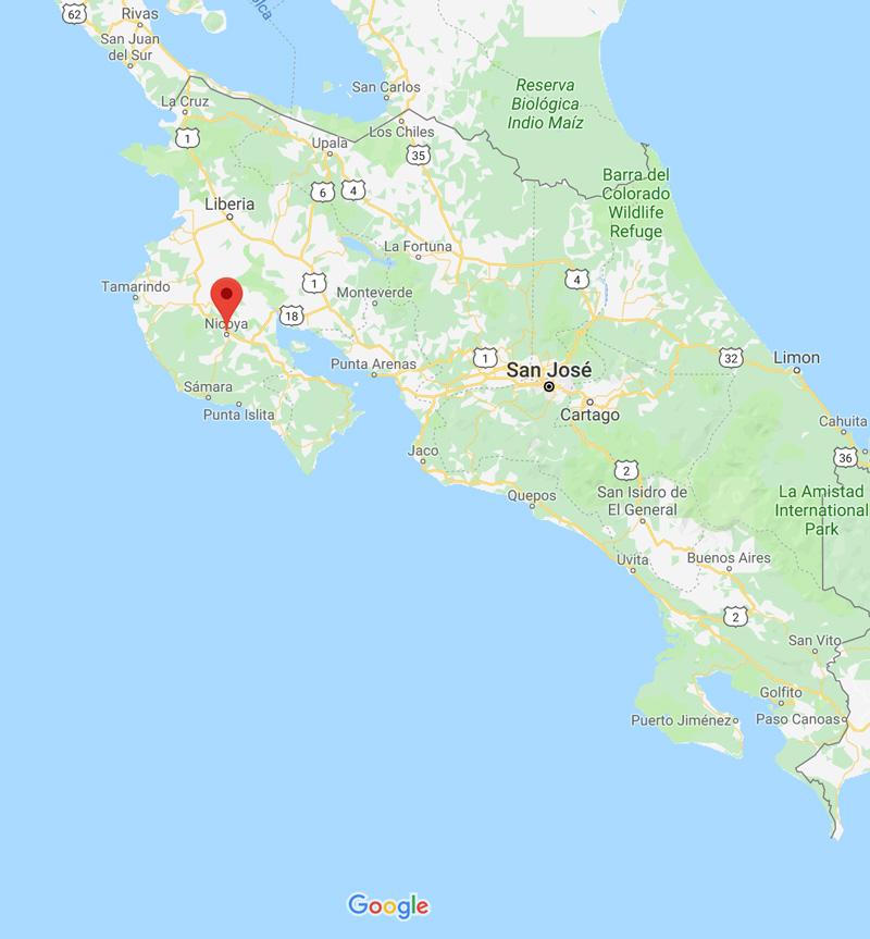 Google map of Costa Rica.
