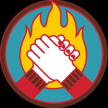 2 handen houden elkaar vast met de vlam van Music for Life op de achtergrond.