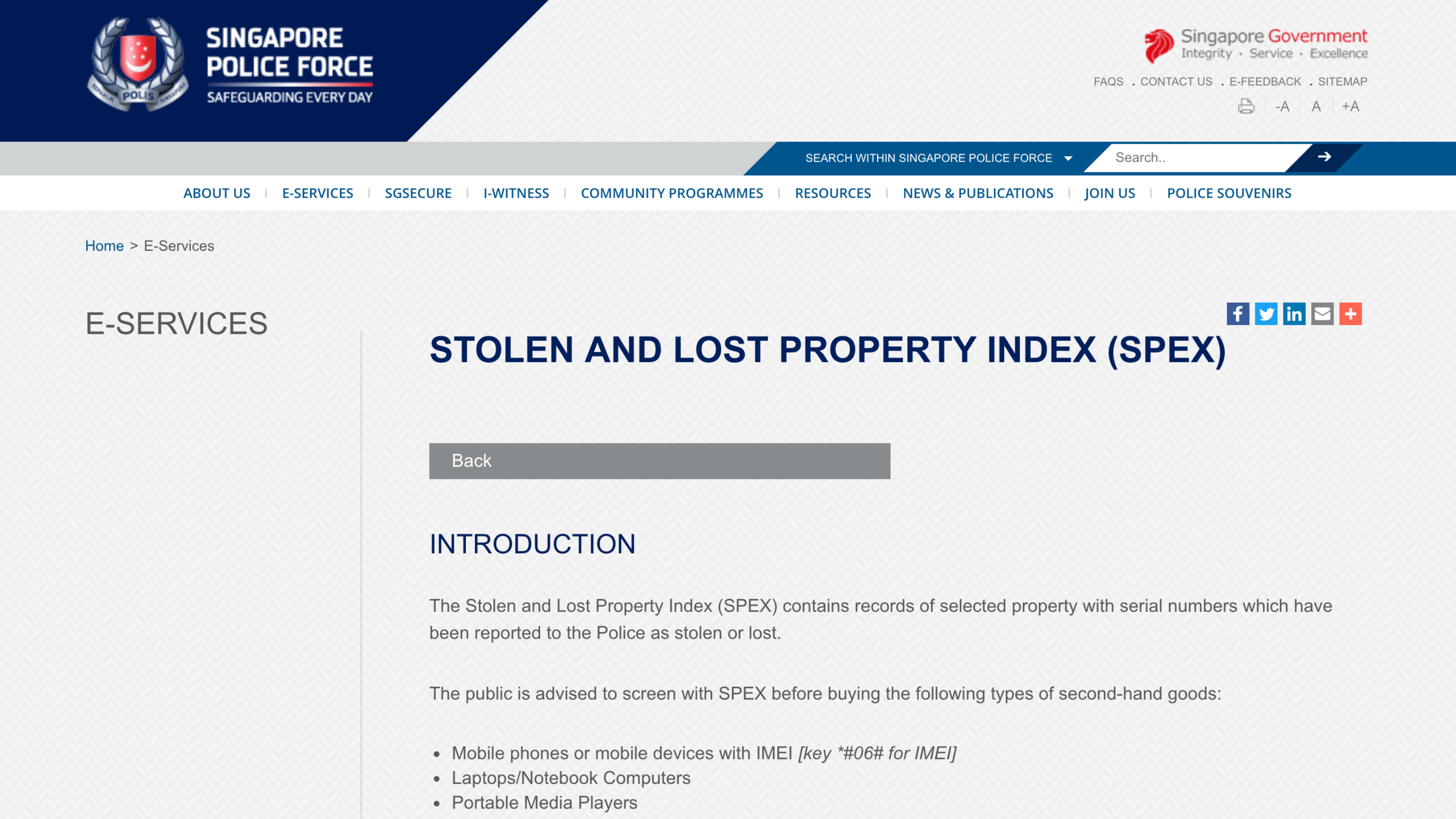 Screenshot of 'Stolen and Lost Property Index (SPEX)'