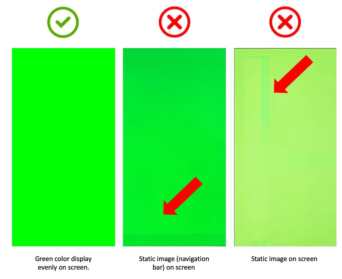 Signs of burn-in on Green screen