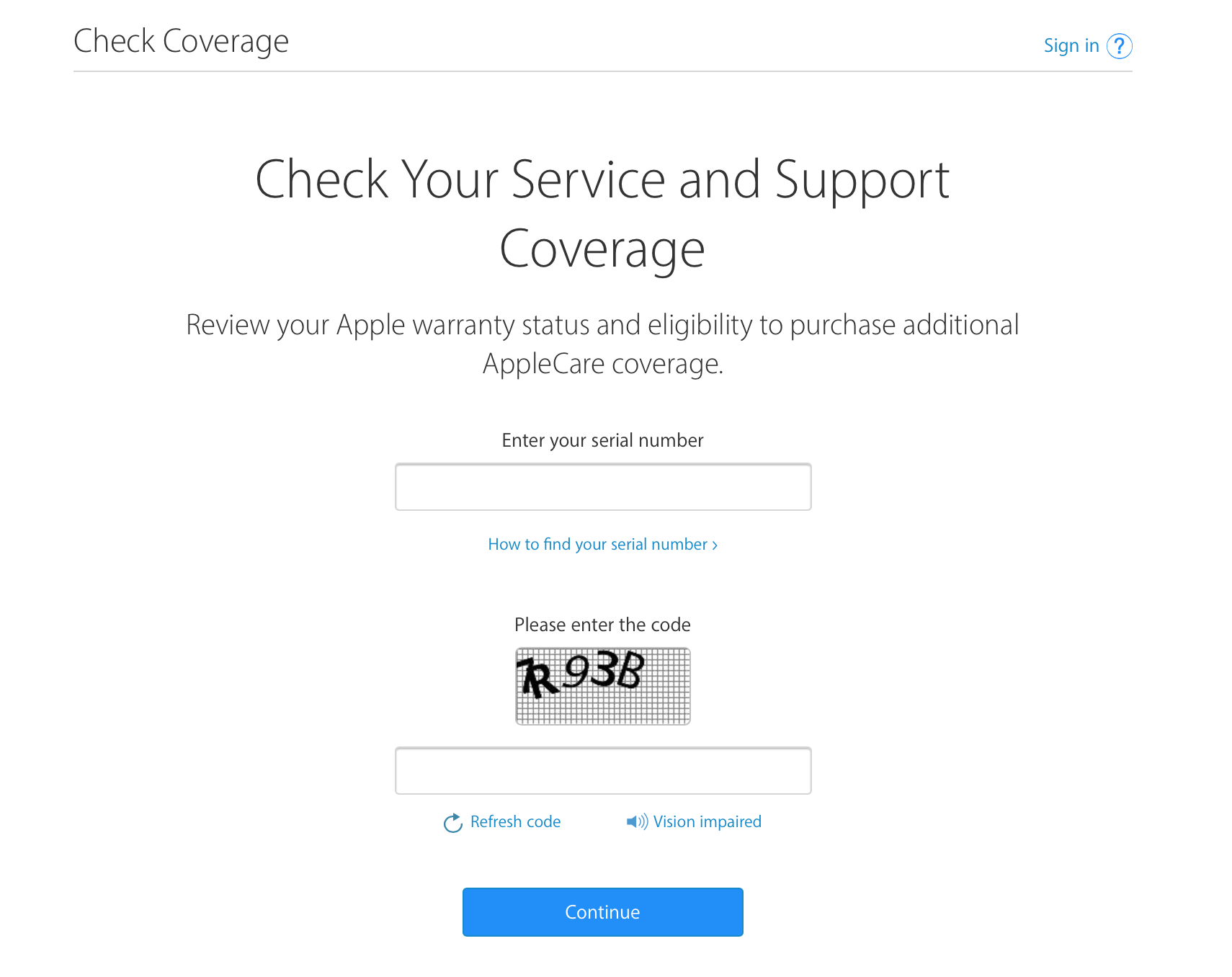 Check Apple Service and Support Coverage