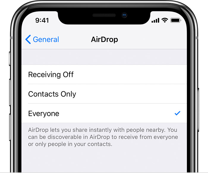 Switching off AirDrop