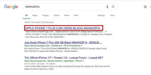 Google Result Showing Your Device Na,e