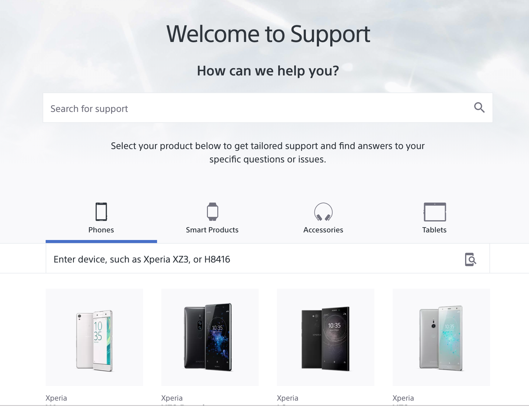 Sony Xperia Support Page