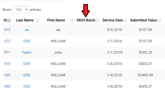 OHIP batch number lookup
