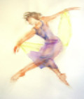 "Dancer 3, Painting by Sally Glanville. 22"" x 28"""