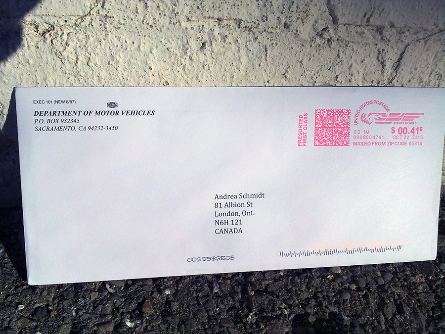 Mail from the DMV