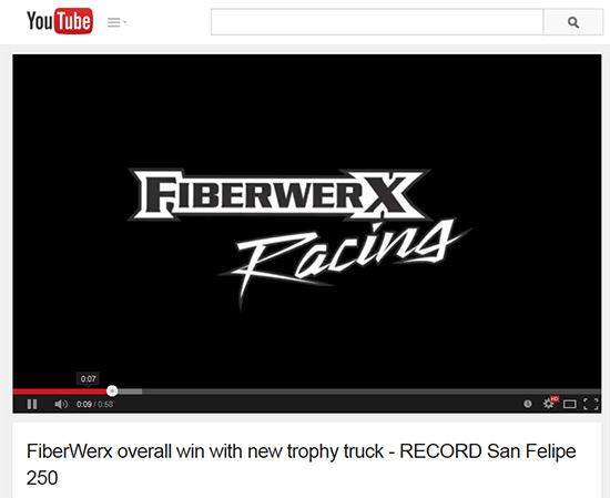 FiberwerX Trophy Truck Video