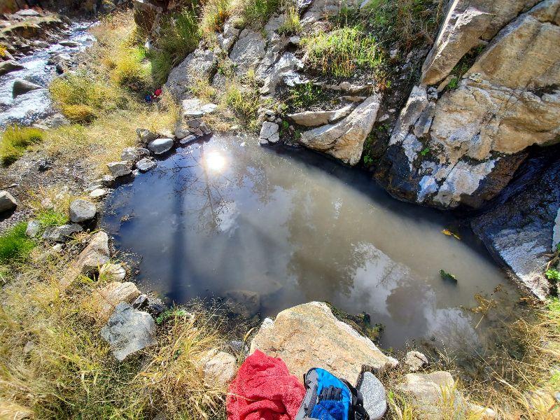 Tiny hot springs pool in Idaho