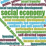 Section of a word cloud, showing the word 'social economy' most prominently