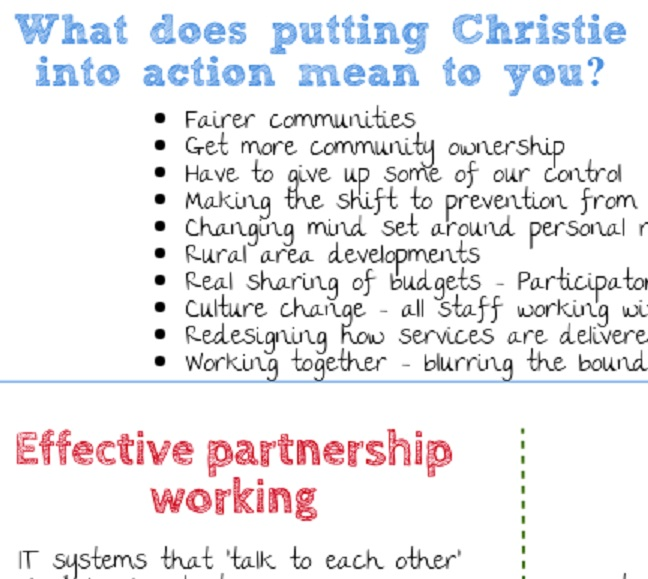 Fragment of an image from the report about what putting Christie into action means in Aberdeenshire