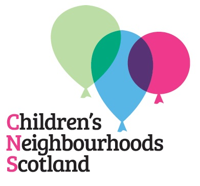 Logo of the Children's Neighbourhoods Scotland with three balloon coloured green, blue and pink