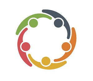Graphic of a circle of brightly coloured people in a circle linking arms and supporting each other