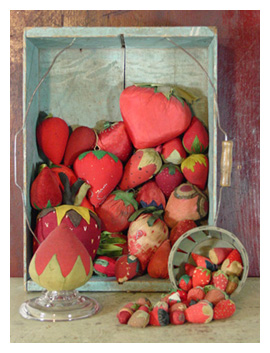 Strawberry pincushions and emeries