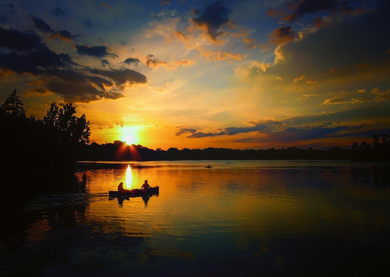 Canoe Sunset on Lake of the Isles