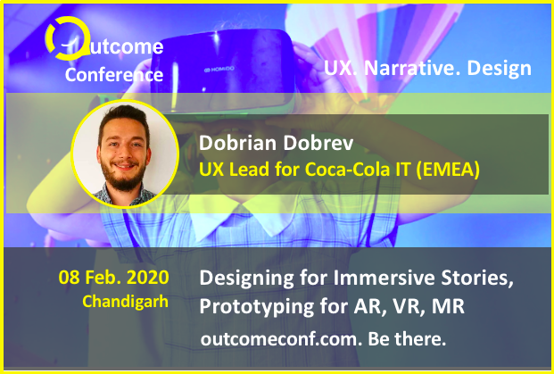 Dobrian Dobrev speaking at the Outcome conference 2020, a ux narrative design conference in Chandigarh, by Vinish Garg.