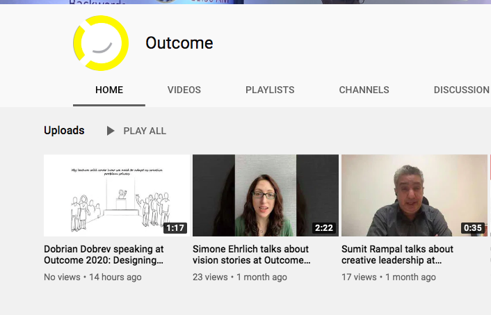 YouTube channel for the Outcome, a UX narrative design conference in Chandigarh, by Vinish Garg.