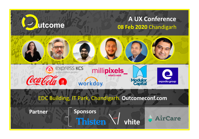 The program for Outcome 2020, a ux narrative design conference in Chandigarh, by Vinish Garg.