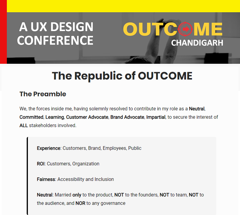OUTCOME UX Design Conference Chandigarh: The Republic of OUTCOME