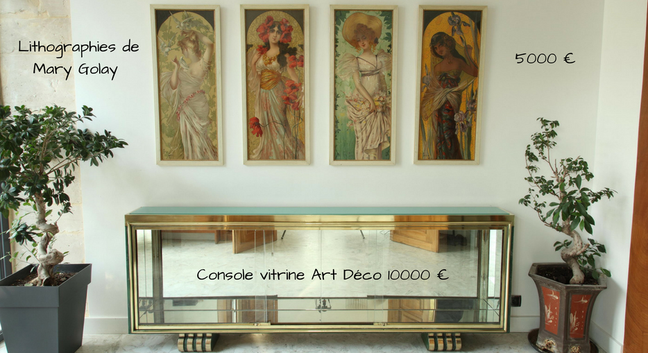 Console vitrine Art Déco et 4 lithographies Art Nouveau de Mary Golay