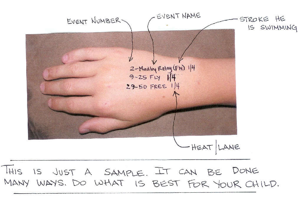 Write events on your athlete's arm the night before