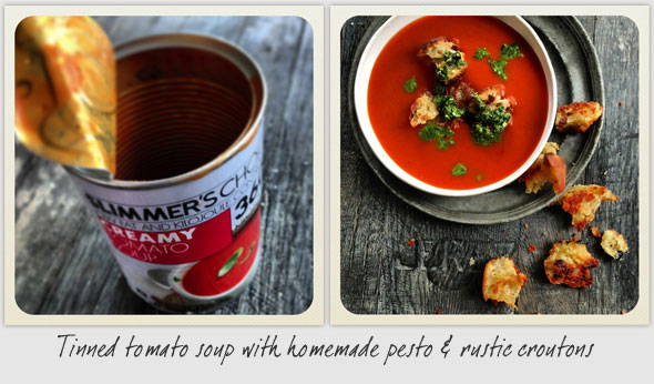 TINNED TOMATOE SOUP WITH HOMEMADE PESTO & RUSTIC CROUTONS