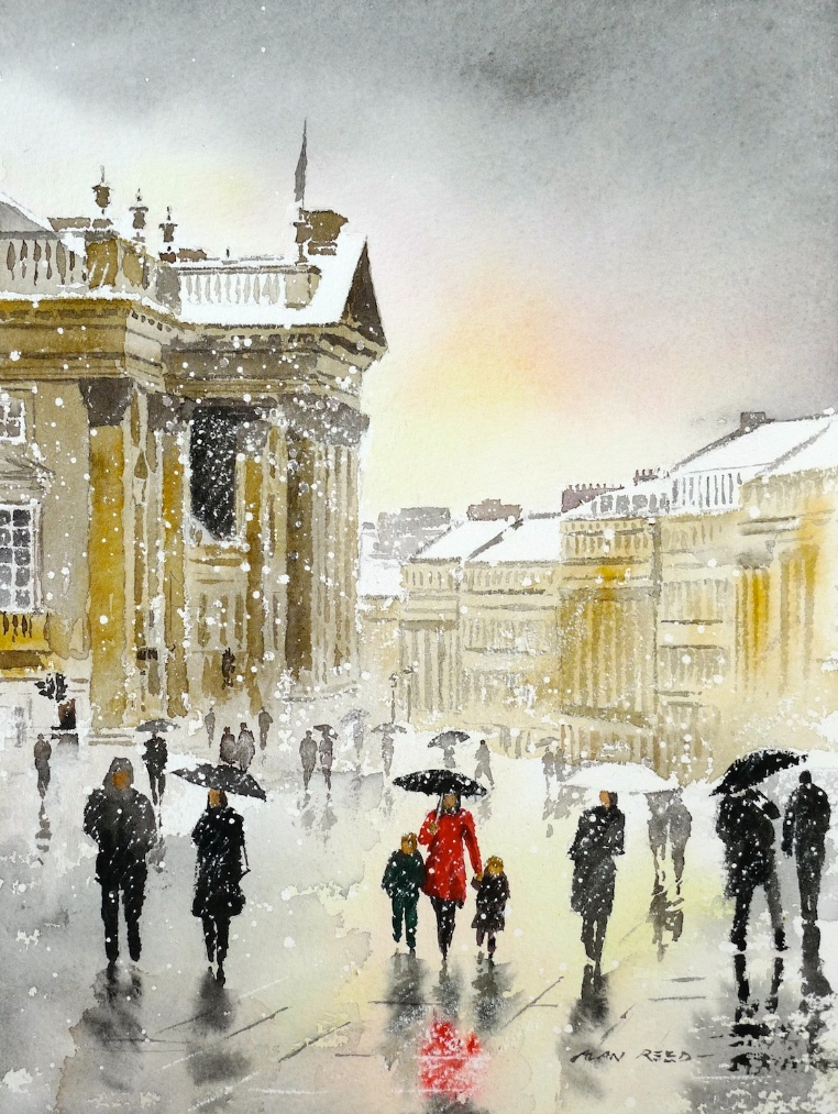 Grey Street in the Snow Christmas Card