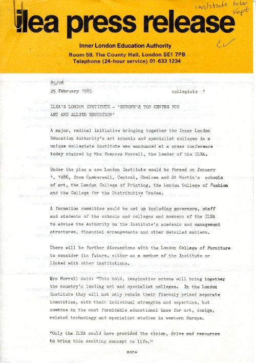 Photograph of the Inner London Education Authority Press Release Announcing the formation of The London Institute, 1985.