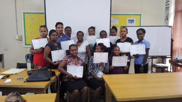 Participants receiving their certificates