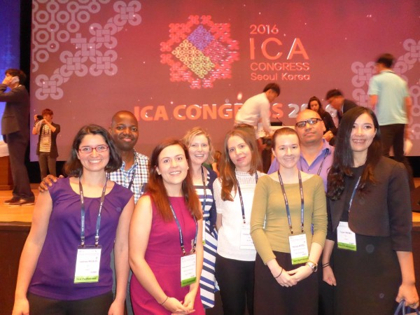 Photograph of the 8 New Professional bursary recipients at ICA Congress Opening Ceremony