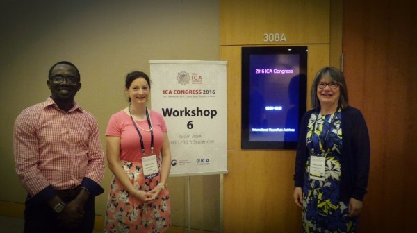 Photograph Left to Right: Eric Boamah, Lydia Loriente, and Gillian Oliver about to present a workshop on Analysing Information Culture