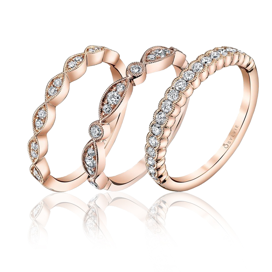 Rose Gold Diamond Wedding Bands