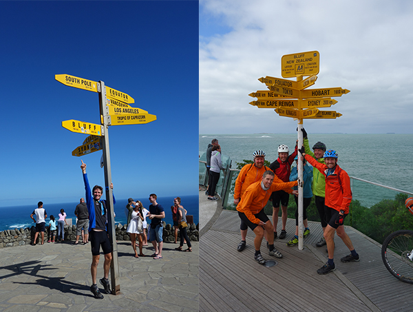 Riders standing in front of the signposts at Cape Reinga and Bluff NZ