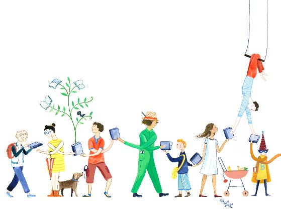 Colourful image of kids with books