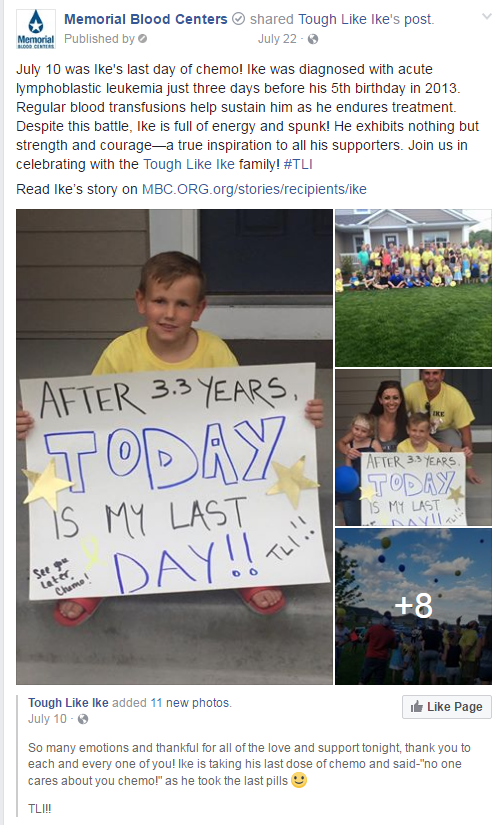 Ike celebrates his last day of chemo