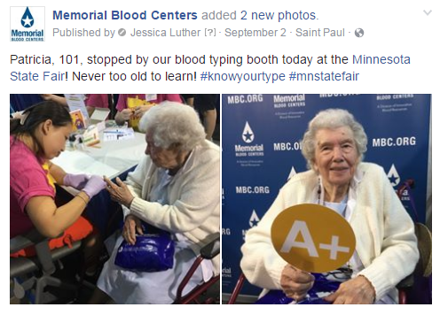 Patricia, age 101, gets  blood typed at the MN State Fair