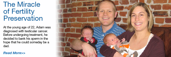Adam and his wife hold their twin boys: At the young age of 22, Adam was diagnosed with testicular cancer. Before undergoing treatment, he decided to bank his sperm in the hope that he could someday be a dad.