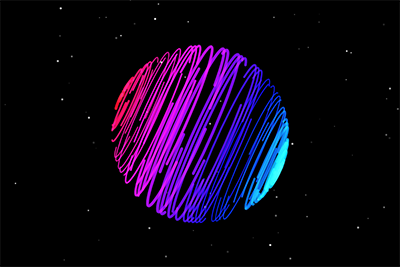 brightly coloured planet with lines