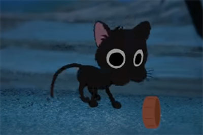 Kitbull's kitten playing with trash