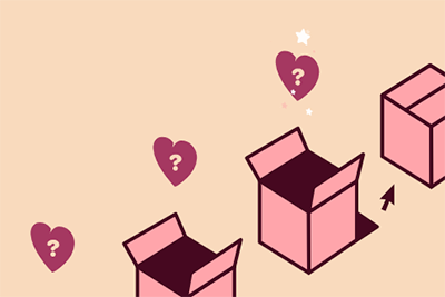 A line of boxes full of hearts