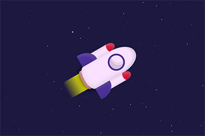 A rocket flying through CSS space
