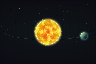 Sun and earth in space