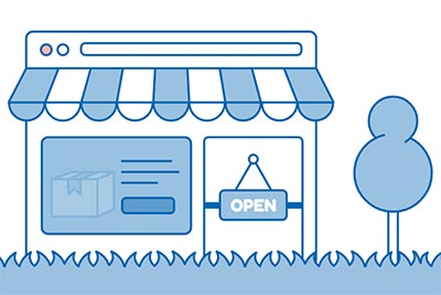 An illustrated and animated CSS storefront