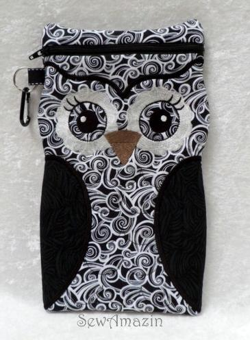 Large Owl shaped zipper case for small readers, tablets, iPad Mini by SewAmazin