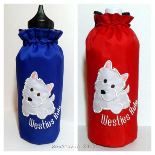Westies Rule Insulated Bottle Carriers Blue Red
