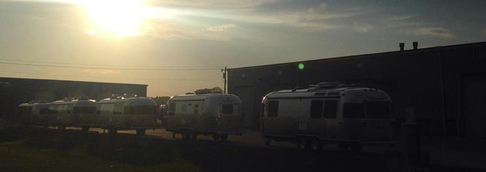 sunset at the Airstream Factory Alumapalooza