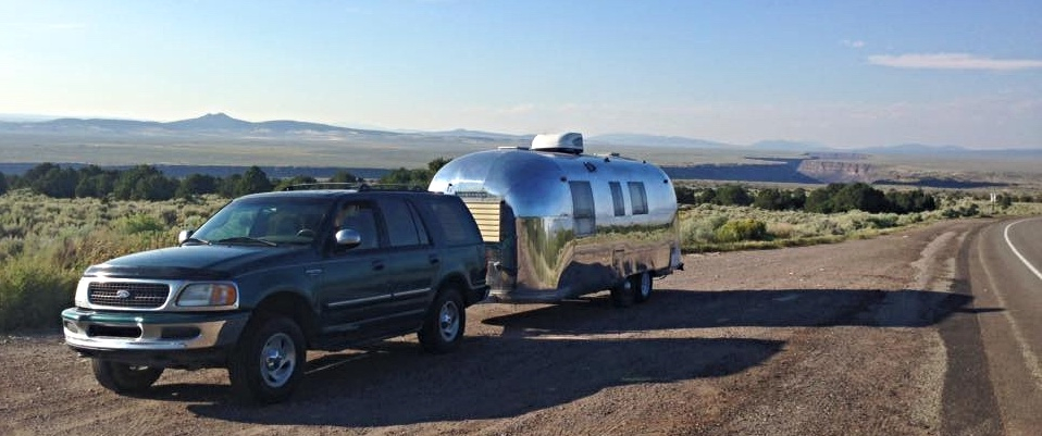 airstream trailer at the rio grande gorge overlook south of Taos