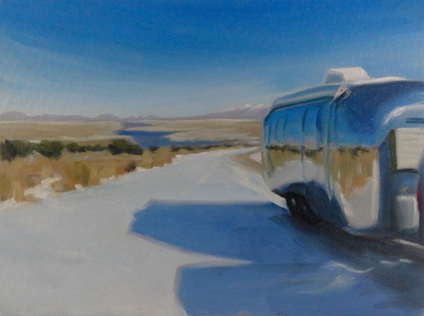 airstream at rio grande gorge in snow